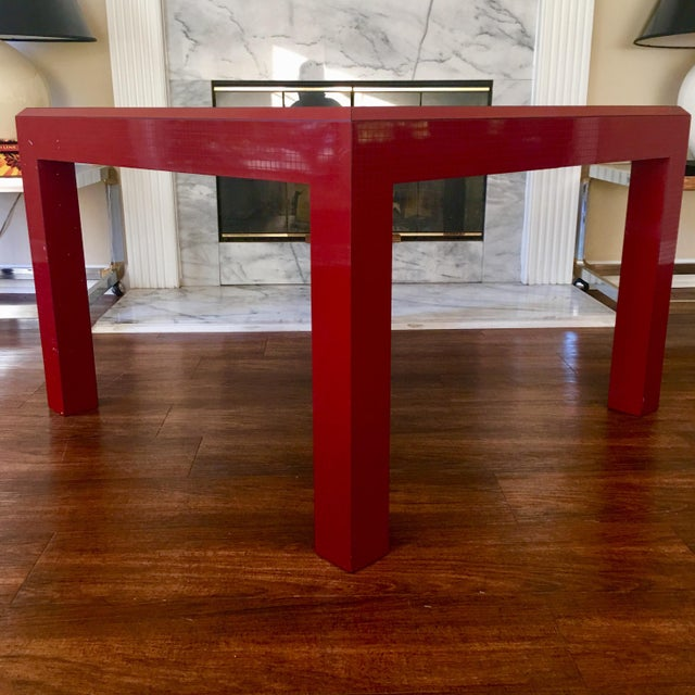 Postmodern Red Occasional Table With Graph Pattern For Sale In Atlanta - Image 6 of 9