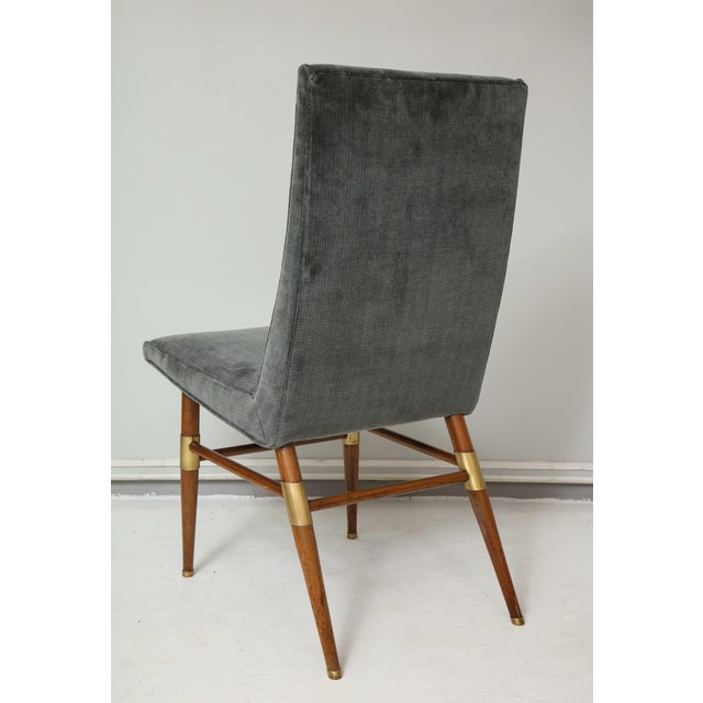 Set of Six Italian Mid-Century Modern Dining Chairs, Recently Upholstered For Sale - Image 9 of 11