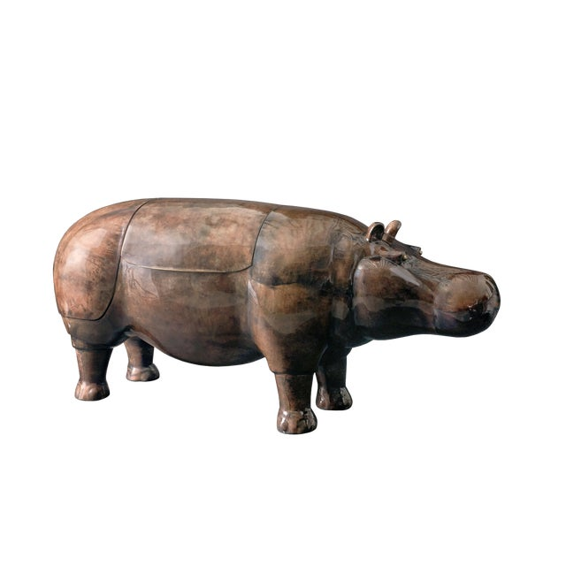 Contemporary Hippo Parchment Dry Bar For Sale - Image 3 of 8