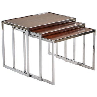 1940s Set of Three English Wood and Chrome Nesting Tables For Sale
