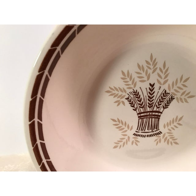Mid-Century Modern Cream & Brown Wheat Serving Bowl - Image 3 of 8