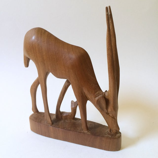 Hand Carved Wooden African Antelope Figurine - Image 2 of 5