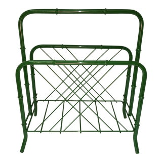 Vintage Faux Bamboo Green Metal Magazine Rack For Sale