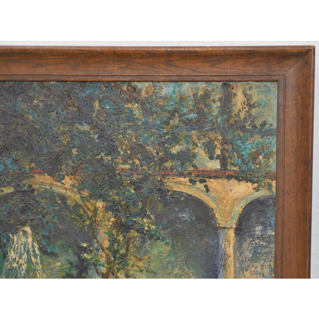 Impressionism Mid Century Illuminated Fountain at Dusk Oil Painting by Ione Smith C.1967 For Sale - Image 3 of 9