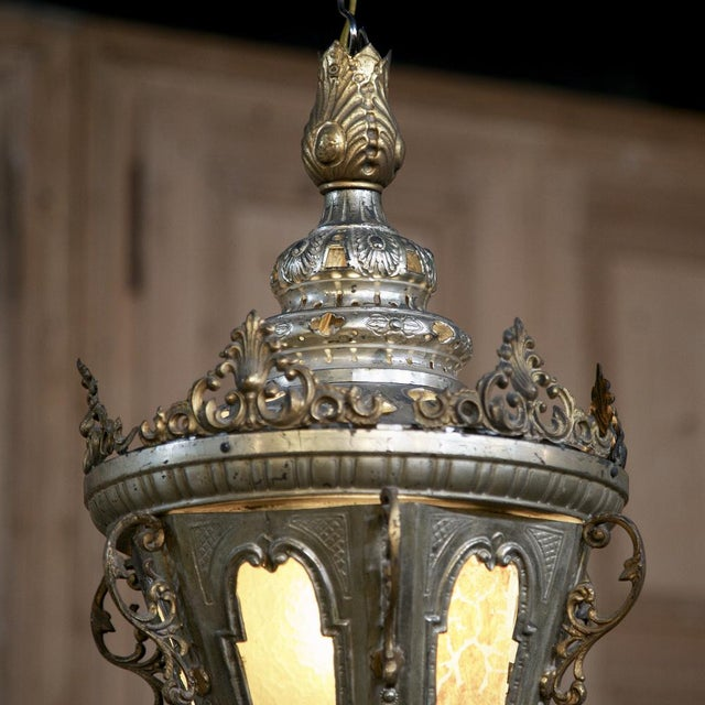 Brass 19th Century Venetian Silver Plated Brass Lantern Chandelier, Ca. 1850's For Sale - Image 7 of 8
