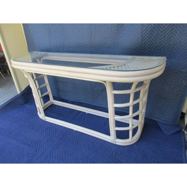 Mid 20th Century Glass Top Rattan Demi-Lune Console Table For Sale - Image 5 of 10