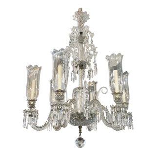 Palatial Antique Original Signed French Baccarat 6 Light Clear Crystal Chandelier For Sale