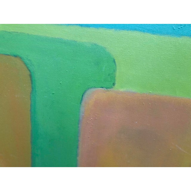 Large Vintage Mid Century Abstract Oil Painting on Canvas in the Style of Josef Albee's For Sale - Image 4 of 9
