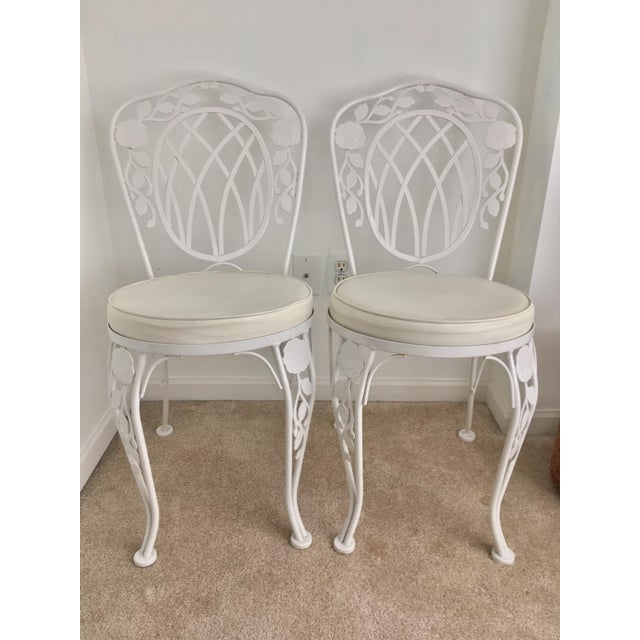 White Vintage Meadowcraft Bistro Chairs - a Pair For Sale - Image 8 of 8