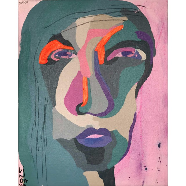 """Contemporary Abstract Portrait Painting """"Hero Lady, No. 3"""" - Framed For Sale"""