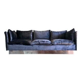 Milo Baughman for Thayer Coggin Scalloped Velvet Sofa For Sale