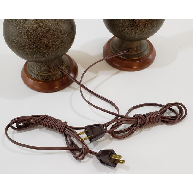 Mid-Century Arabesque Brass Lamps - a Pair For Sale - Image 10 of 13