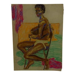 "1947 Mid-Century Modern Original Drawing on Paper, ""Young Black Man Semi-Nude"" by Tom Sturges Jr"