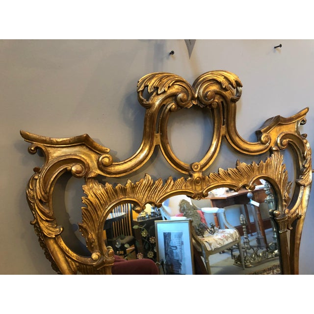 Chippendale Style Mid Century Hand Carved Gilt Italian Rococo Mirrors - a Pair For Sale - Image 4 of 11