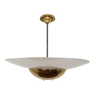 1930's Large Art Deco Brass & Glass Ceiling Lamp For Sale
