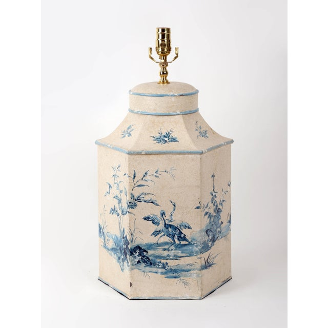 Vintage Hand-Painted British Export Tea Caddy Table Lamp For Sale - Image 10 of 10