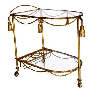 Mid-Century Italian Gilt Tassel Cart For Sale