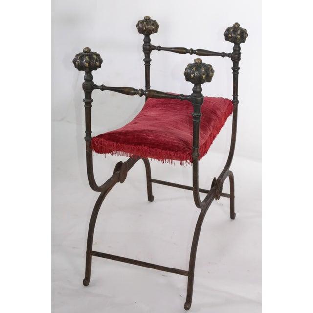 Gothic Large Iron and Bronze Savonarola Faldistorio Curule Bench For Sale - Image 3 of 7