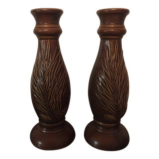 Pine Needle Candle Holders - a Pair For Sale