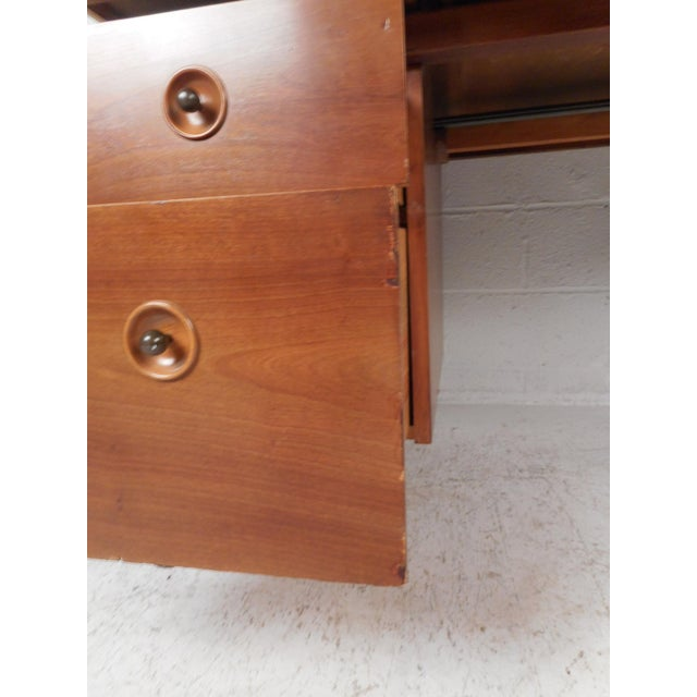 Brown Mid-Century Modern Desk With Side Extension For Sale - Image 8 of 12