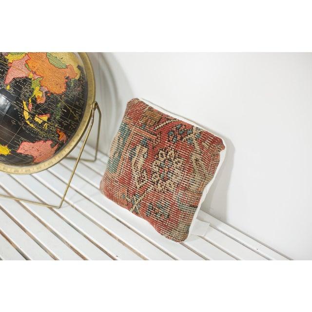 Cottage Antique Heriz Rug Fragment Pillow For Sale - Image 3 of 4
