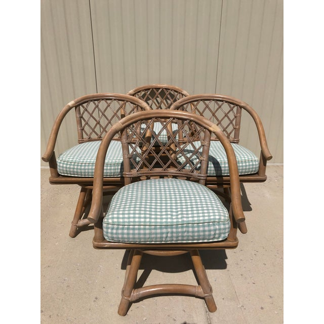 Ficks Reed Natural Rattan Swivel Chairs - Set of 4 For Sale - Image 13 of 13