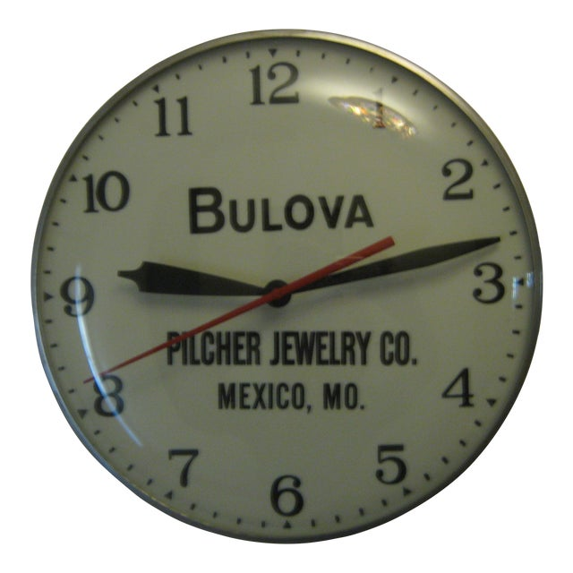Bulova Pilcher Jewelry Advertising Lighted Clock For Sale