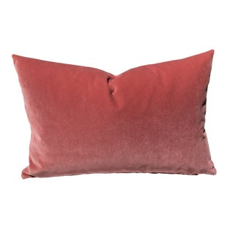 Paprika Designer Velvet Accent Feather Down Pillow, Custom Made For Sale
