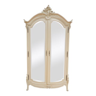 Vintage French Style White Cabinet With Carved Wood Detail and Mirrored Front For Sale