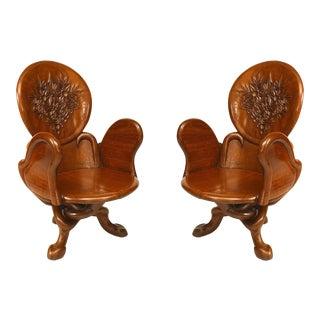 Art Nouveau Teak Arm Chairs For Sale