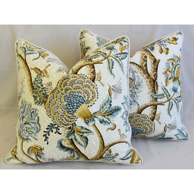 """French Jacobean Floral Cotton & Linen Feather/Down Pillows 24"""" Square - Pair For Sale - Image 9 of 13"""