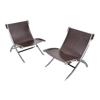 1960s American Paul Tuttle Chrome and Leather Lounge Chairs - a Pair For Sale