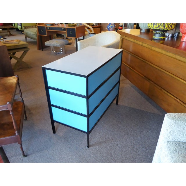 George Nelson Mid-Century Modern Steel Frame Blue and Black Dresser for Herman Miller, 1960s For Sale In Miami - Image 6 of 13