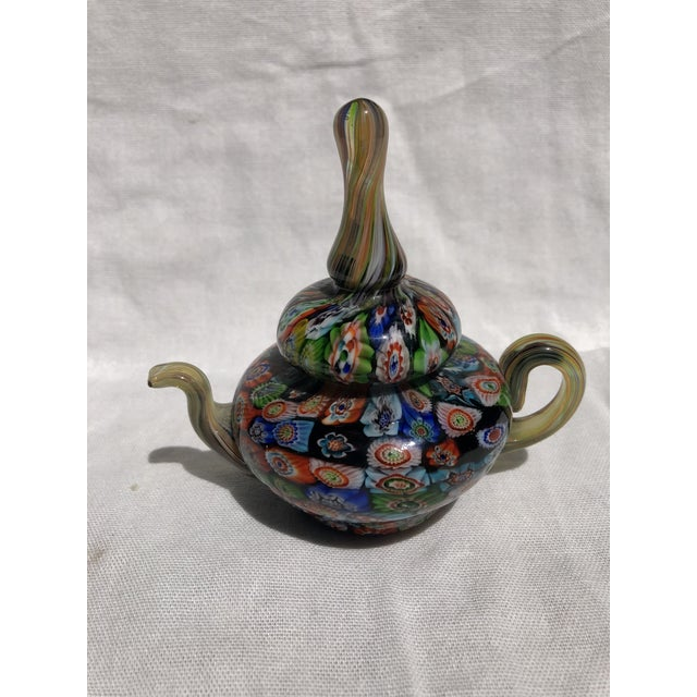 Glass Murano Milleflora Teapot Paperweight For Sale - Image 7 of 8