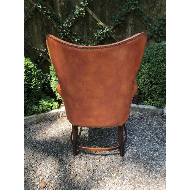 1960s Mid-Century Modern Brown Faux Leather Wingback Chairs - a Pair For Sale In New York - Image 6 of 12
