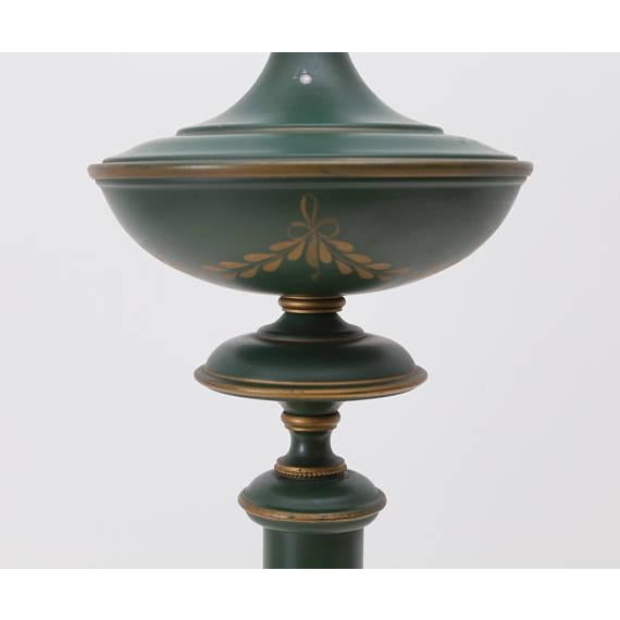 French Green Tole Column Form Table Lamp - Image 6 of 6