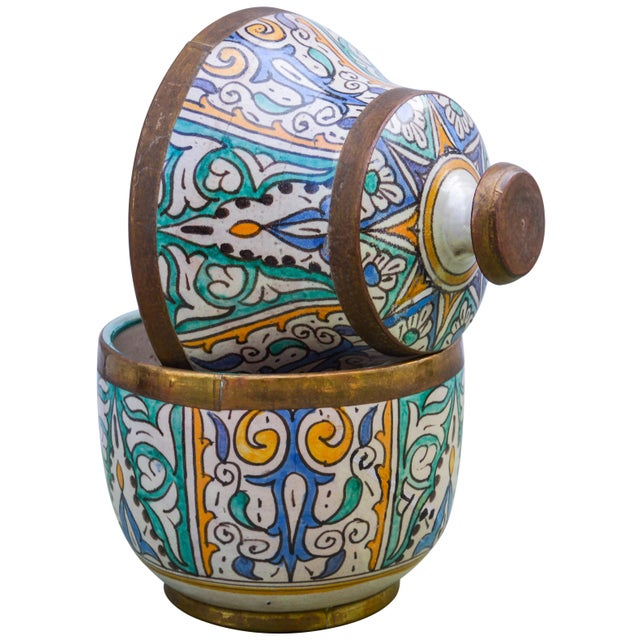 Moroccan Ceramic Lidded Bowl With Arabesque For Sale - Image 9 of 12