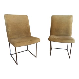 Vintage Milo Baughman Chrome Dining Chairs for Thayer Coggin- A Pair For Sale