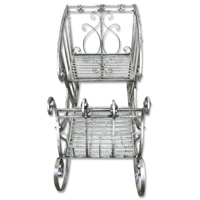 Metal Vintage Wrought Iron 'Sleigh' Plant Stand For Sale - Image 7 of 11
