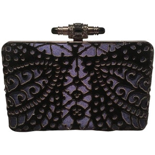 Judith Leiber Navy Blue Black Velvet Cut Out Evening Bag Clutch For Sale