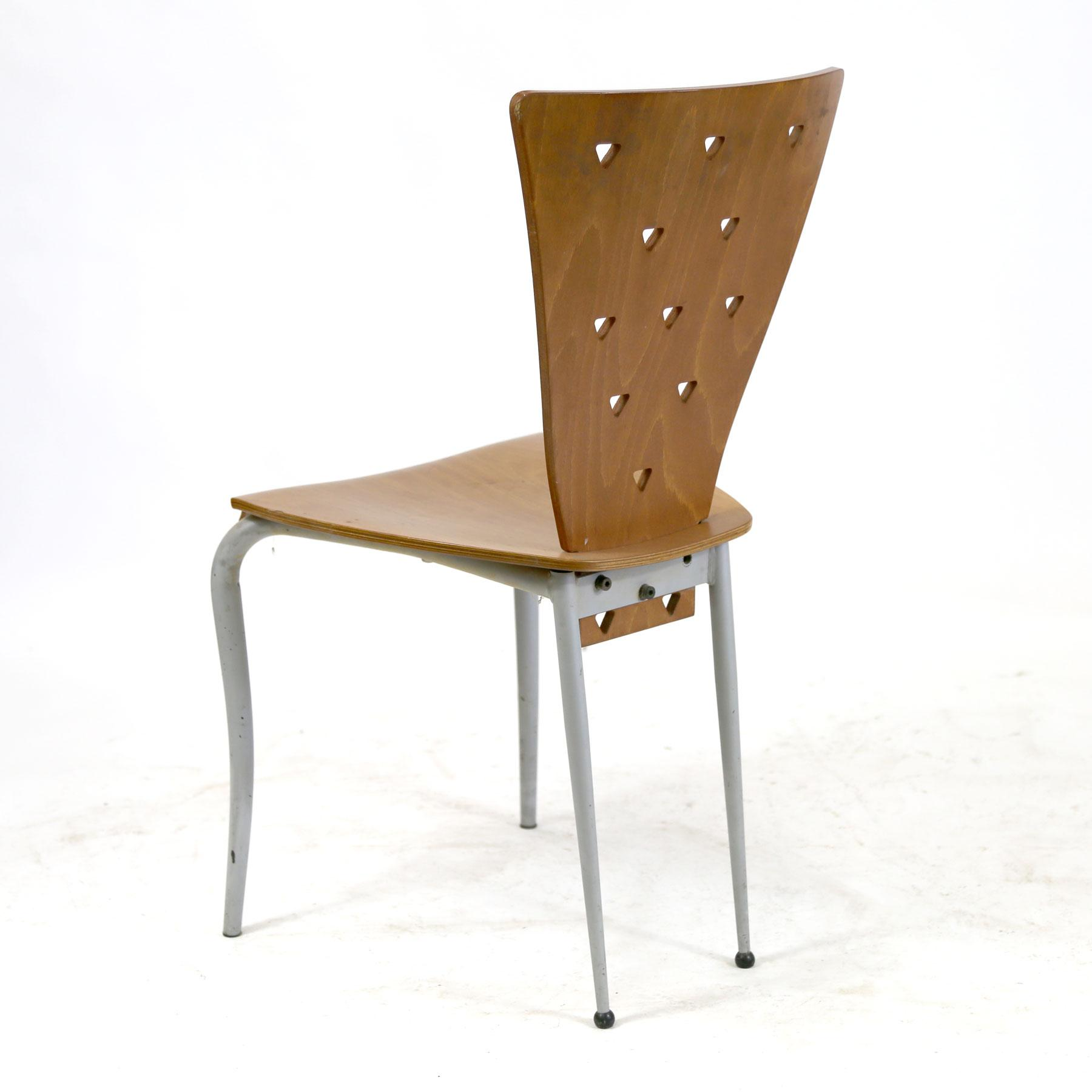 Italian Post Modern Memphis Style Side Chair With Molded Plywood Back U0026  Seat Triangle Motif