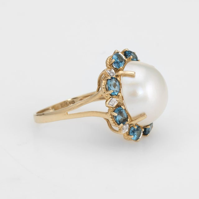 Modern Estate Mabe Pearl Topaz Diamond Ring 14 Karat Gold Round Cocktail Jewelry Fine For Sale - Image 3 of 8