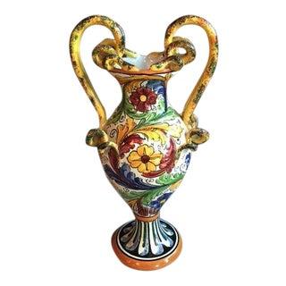 Italian Ceramic Handled Vase For Sale