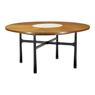 Walnut Coffee Table with Stone Insert by Harvey Probber For Sale