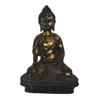 Vintage Gold Metal Buddha Seated Meditation Statue For Sale