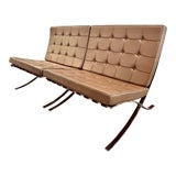 Image of Mid Century Light Brown Leather Barcelona Chairs - a Pair For Sale