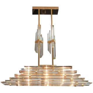 Modern and Rare Murano Chandelier With Glass Rods For Sale