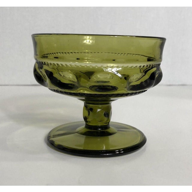 Mid-Century Modern Vintage Verde Thumbprint Kings Crown Style Green Glasses - Set of 4 For Sale - Image 3 of 5