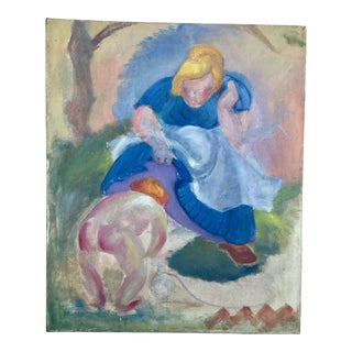 Early Twentieth Century Mother & Child Oil Painting