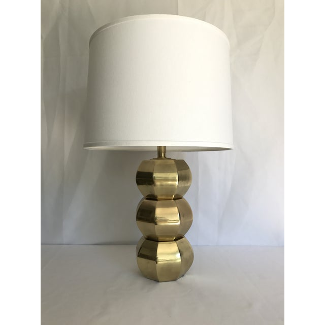 Vintage brass geometric stacked table lamp by Westwood. The lamp has been rewired and given a new solid brass socket. If...